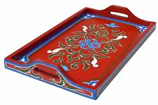Serving Tray Platter Moroccan Wood Tea Coffee Snacks Handmade Decorative Red
