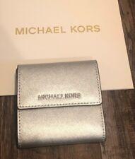 Michael Kors Jet Set Travel Small Card Case Carryall Silver Womens Wallet $128
