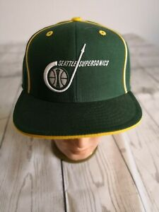 Seattle Supersonics Hat NBA by REEBOK HARDWOOD CLASSICS 7 3/8 VTG