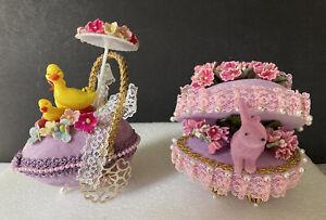 Vintage Hand Made Beaded Easter eggs ~ Lot of 2, Ducks & Velvet Bunny, Flowers