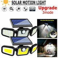 74 LED Outdoor Solar Motion Sensor Flood Light Garden Wall 3 Head Security Lamp