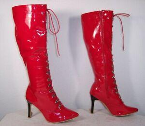 schöne kniehohe Lack Stiefel mit Frontschnürung, Farbe Rot,Größe 39