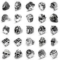 Men's Titanium Steel Hip Hop Gothic Punk Skull Head Biker Finger Rings Jewelry