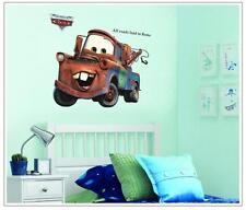 DIY 3D Pixar cars Mater kids room All Roads Lead to Rome quote art wall stickers