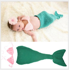 Mermaid Cute Newborn Baby Girl Boy Crochet Knit Costume Photo Photography Prop