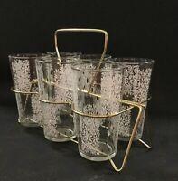 Mid Century barware set. Atomic Hi ball glassware with brass stand. 9 piece