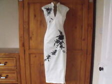 Oriental Chinese Ivory Black LONG dress size 8 10