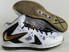NIKE LEBRON X 10 P.S. ELITE+ WHITE-METALLIC GOLD-BLACK SZ 16 [579834-100]