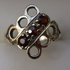 Women's Gold 9ct Vintage 3 Stone Garnet Ring Lovely Condition Size L Hallmarked