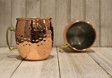 New 2 Moscow Mule Mugs Hammered Copper Brass 16 Ounce Bar 2 per set 2x oz 500 ml
