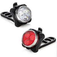 USB Rechargeable LED Bicycle Bike Front Rear Light Headlight Taillight Lamps Set