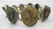 Victorian Antique Vesuvius Lava Goddesses High Relief Cameo Bracelet c 1860