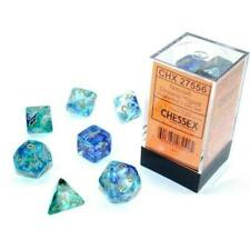 Chessex Nebula Luminary Polyhedral 7-die Dice Set Oceanic/gold
