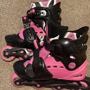 No Fear Inline Skates Roller Blades, Black & Pink Size 1-4