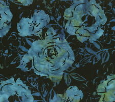 Hoffman Batik Bali Chop Rose/Daisy K2470-215 Black/Blue Cotton Batik Fabric BTY