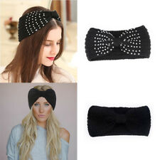 Women's Turban Knitted Ear Warmer Knot Headband Crochet Bow Wool Hat Hairband
