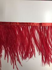 Ostrich Feather Fringe ,sold by yards ,6/7 inches lenght ,reach red color