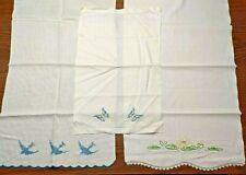 Lot Of Three Vintage Handmade Embroidered Dresser Scarves Table Runner Birds
