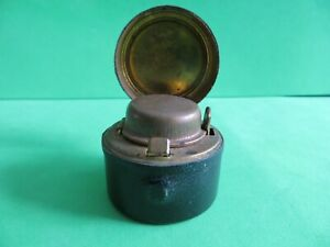 Antique Black Leather Cased Travel Inkwell - With Ink Bottle