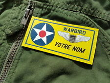 SNAKE PATCH - NAMETAG pilote WARBIRD USAF personnalisable US FLIGHT SUIT wings