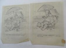 AL KILGORE Lot Of 2 pencil drawings 8 x 10 FLOOR COVERING WEEKLY Magazine AKd372