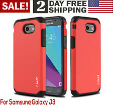 Samsung Galaxy J3 Emerge/Prime Case Hybrid Shock Proof Rugged Phone Cover Red