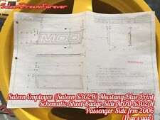 SALEEN HERITAGE MUSTANG BADGE SIDE MOD S302H PASS BLUE PRINT SPEC CHART FORD GT