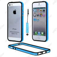 Housse Coque Etui Bumper Bleu / Noir Apple iPhone SE 5S 5 + Mini Stylet