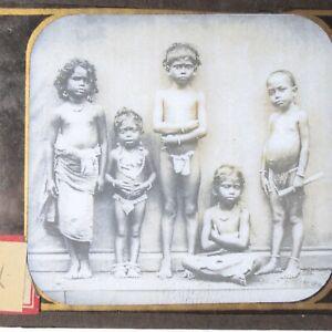 India Ceylon portrait native children magic lantern slide antique photograph