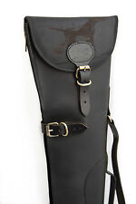 Hound ENGRAVED Black Leather Shotgun Slip Case - Limited Edition Design