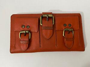 MANZONI Genuine Leather Orange/red Boho Buckle Zip Bi Fold Wallet Coin Purse