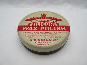 Vintage household cleaning Kingsland antiseptic silicone wax polish tin empty