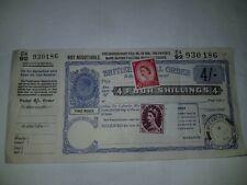More details for 1956 vintage british postal order 4/- with two er stamps