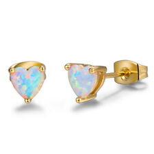 Romantic Love Heart White Fire Opal Yellow Gold Plated Flower Stud Earrings