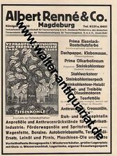 Albert Renné Teer-Produkte Magdeburg Große Werbeanzeige anno 1922 Reklame