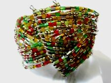 Colorful Bracelet Bypass Delica Glass Beads Beaded On Wire Modern