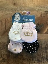 Gerber Organic Cotton Baby  Girl 3-Piece Pink Princess Mittens Size 0-3M Crown