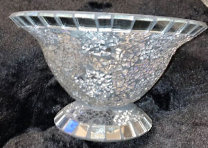 Glass and Mirror Tile Mosaic Pedestal Decorative Bowl