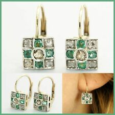 14k Yellow GOLD Natural EMERALD and DIAMOND Cluster Dangle Leverback Earrings