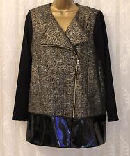 Asos Wool Blend Collarless Metallic Textured Pu Hem Jacket Coat  10 38