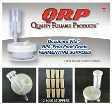 """12 Qrp Stoppers 000 3/8"""" Beige Food Grade Silicone Rubber Fermentation Airlock"""