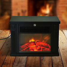 Portable Mini Tabletop Electric Fireplace Tempered Glass Free Standing Heater