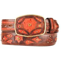 KING EXOTIC COGNAC GENUINE OSTRICH WESTERN COWBOY BELT