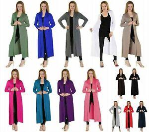 Womens Long Sleeve Maxi Boyfriend Cardigan Ladies Full Length Open Floaty Cardi