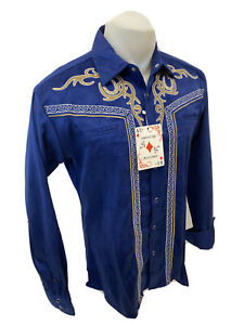 Men RODEO WESTERN COUNTRY BLUE BEIGE STITCH TRIBAL SNAP UP Shirt Cowboy 04485