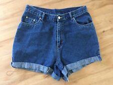 Ladies MILLERS Short Denim Shorts Size 12 Blue High Waist Roll Ups