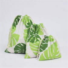 Cotton Linen Drawstring Organized Bag Party Gift Bag Print Big Green Leaf YM1 8S