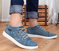 Mens British Style Denim Lace Up Low Top Hole Ripped Sport Sneakers Casual Shoes