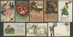 Eight c.1905-10 Valentine Postcards P SANDER TUCK LEATHERETTE WOMEN CHILDREN Etc