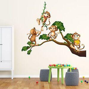 XXL Wandtattoo Affen in Baum 134x115cm Zimmer Kinder Aufkleber Druck Comic